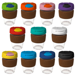 12oz/340ml Glass Karma Kup Cork Band Plastic Flip Lid