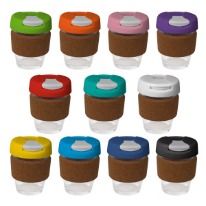 8oz/235ml Glass Karma Kup Cork Band Plastic Flip Lid