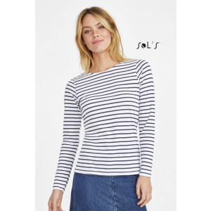 MARINE WOMEN'S LONG SLEEVE STRIPED T-SHIRT